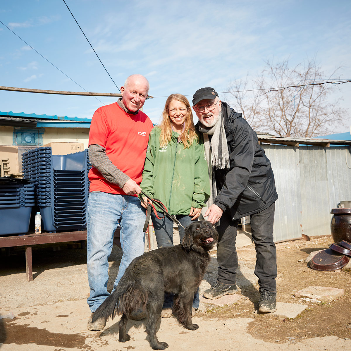 Peter Egan, Roger Mugford, Lola Webber,with a Dog resuce from Dog meat farm at South Korea, humane society international